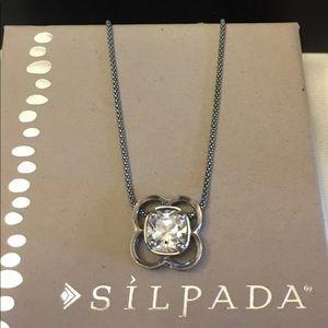 Silpada Retired Flower Cubic Zirconia Necklace
